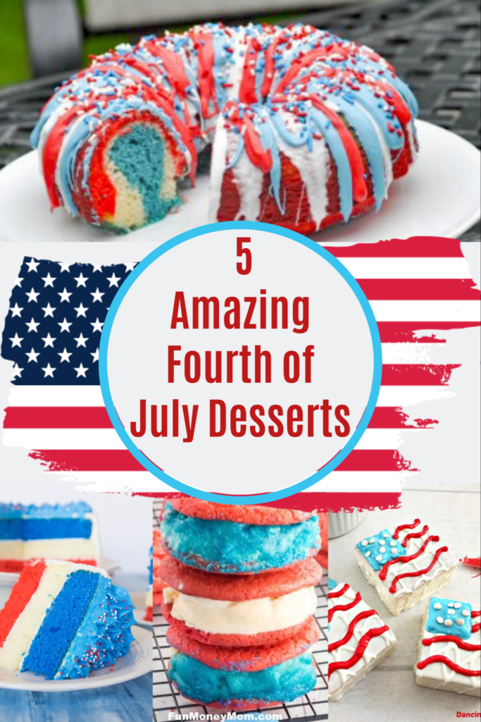 These amazing red, white, and blue desserts are great for Fourth of July parties and barbecues.  You can't go wrong with these delicious ice cream sandwiches and bundt cakes.