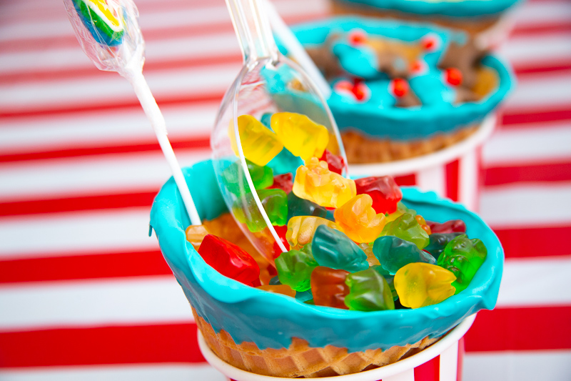 gummy bears in a waffle cup