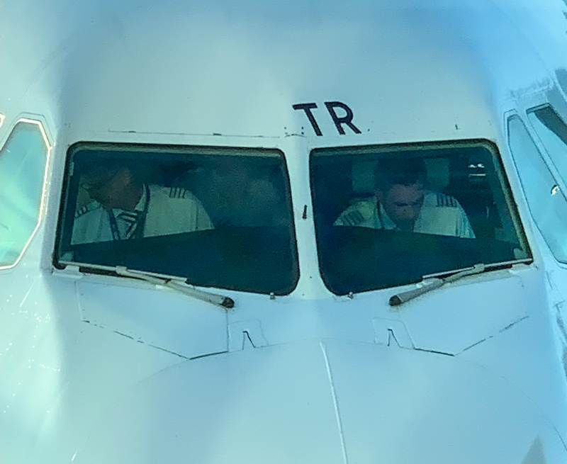 pilots getting ready for takeoff