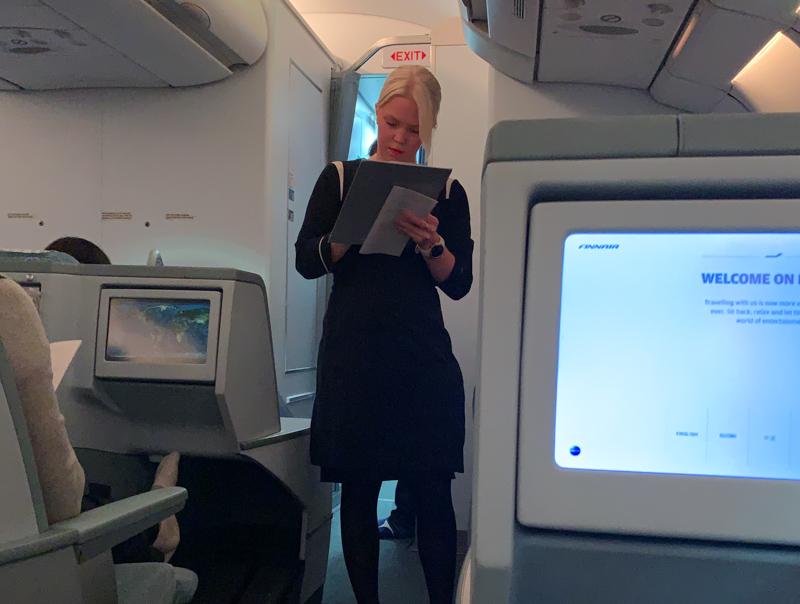 stewardess taking orders