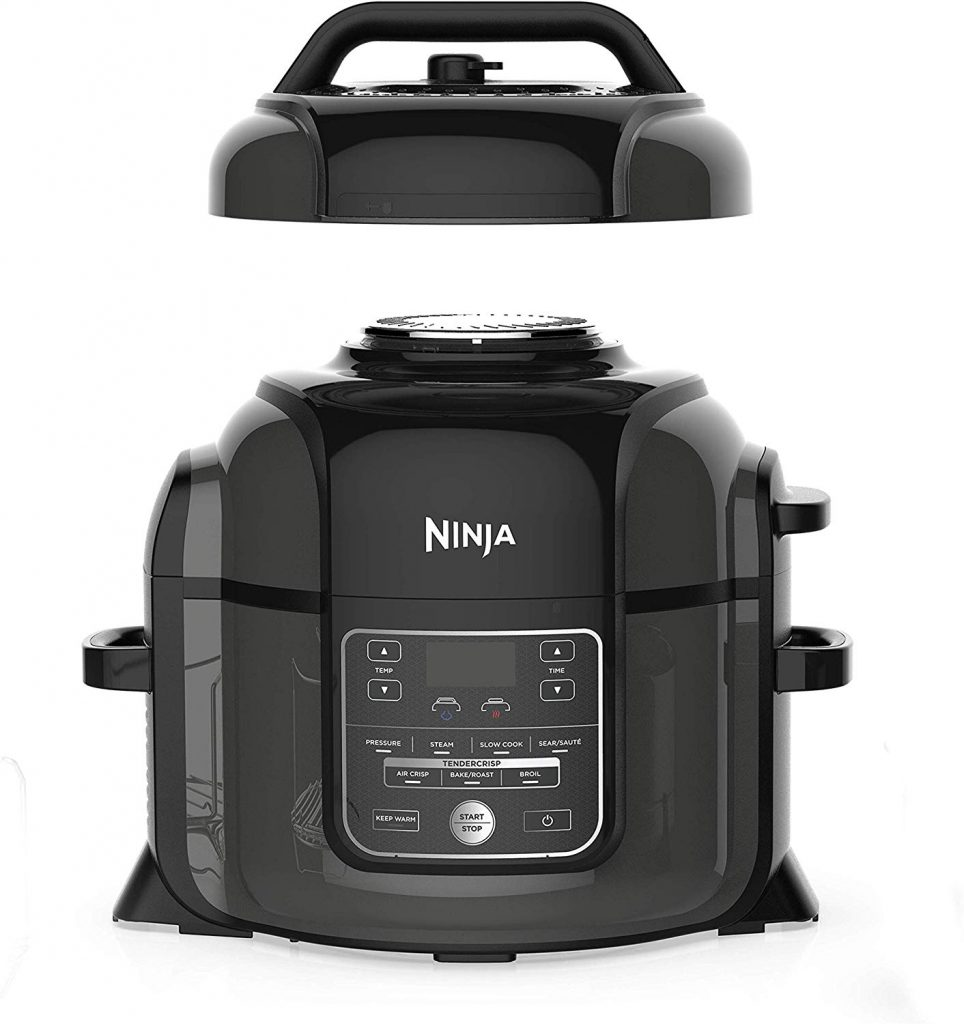Photo of the Ninja Foodi 7-in-1 Programmable Pressure Fryer, Slow Multi Cooker with TenderCrisp Technology, 5 Pot, 3-qt. Air Fry Basket (OP101), 5-Quart, Black/Gray