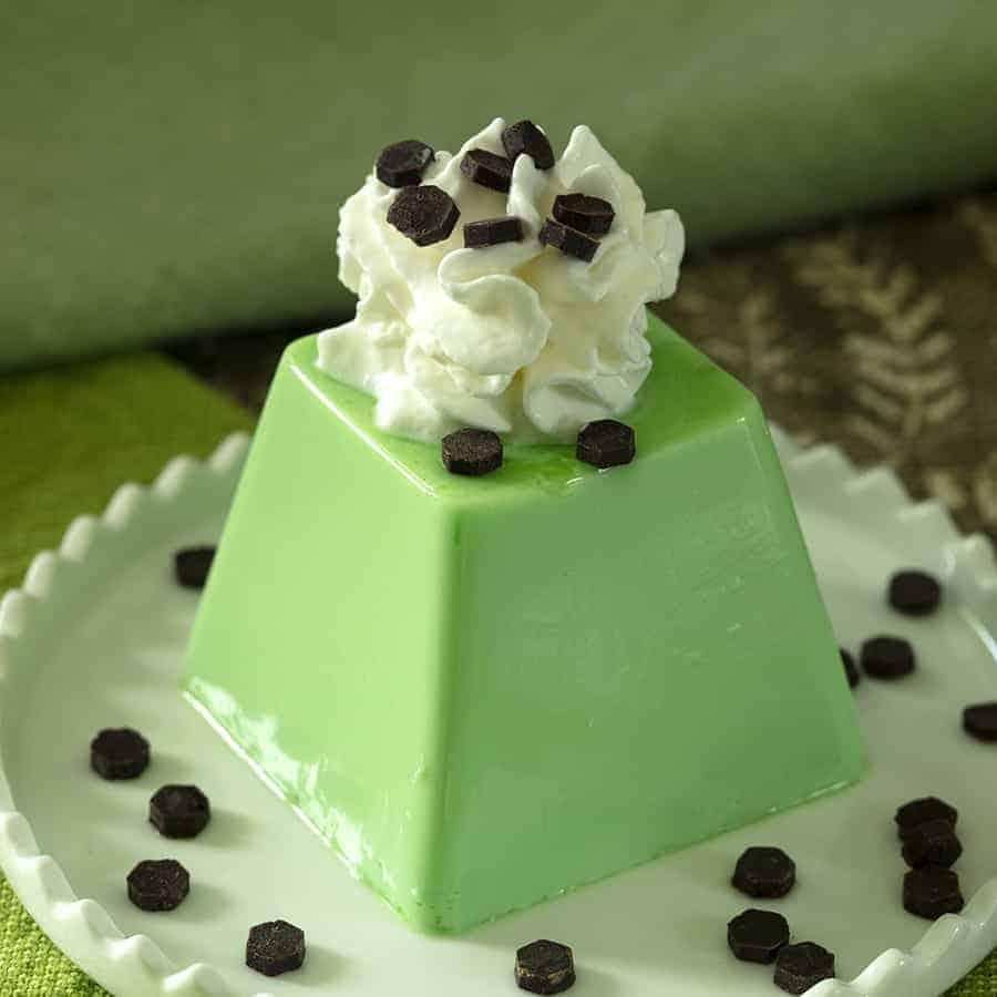 green panna cotta
