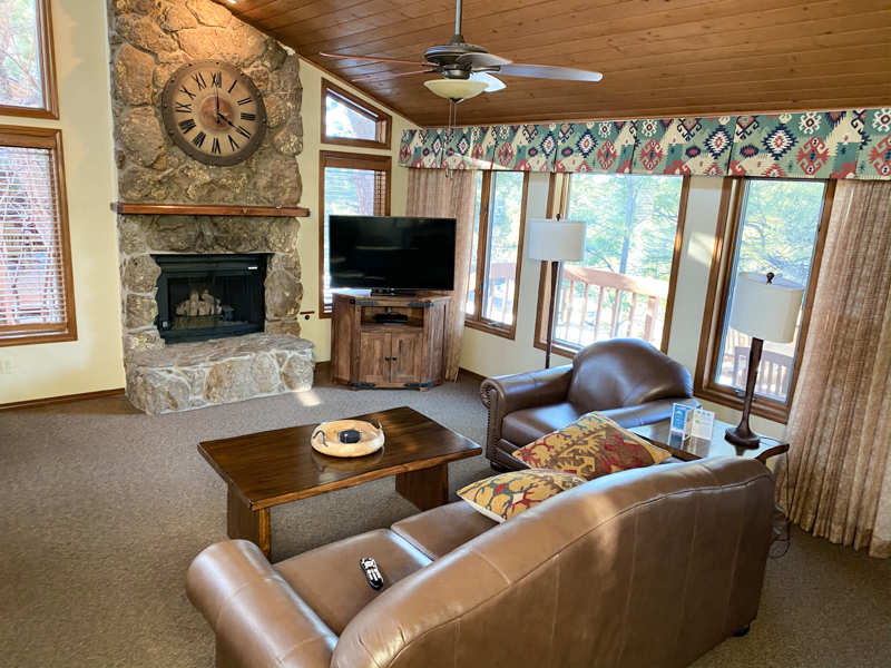 furnished living room with vaulted ceilings