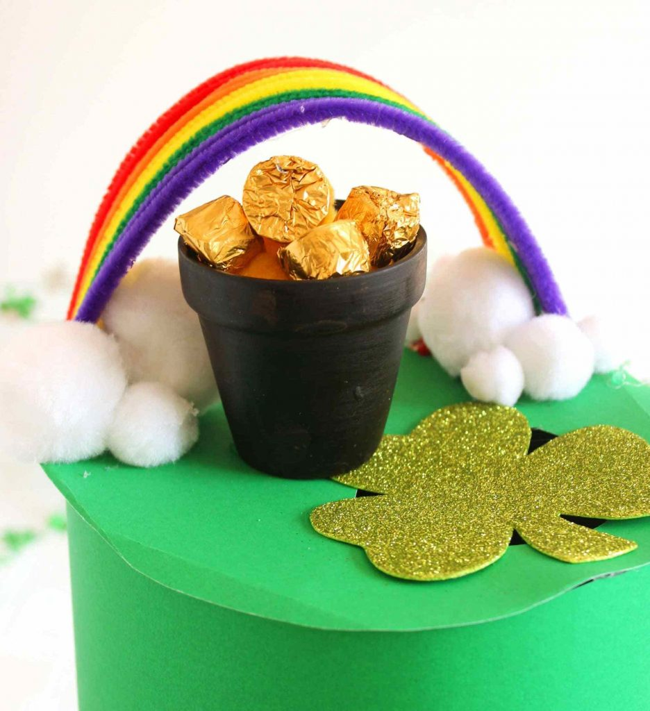 Leprechaun trap with rainbow and pot of gold