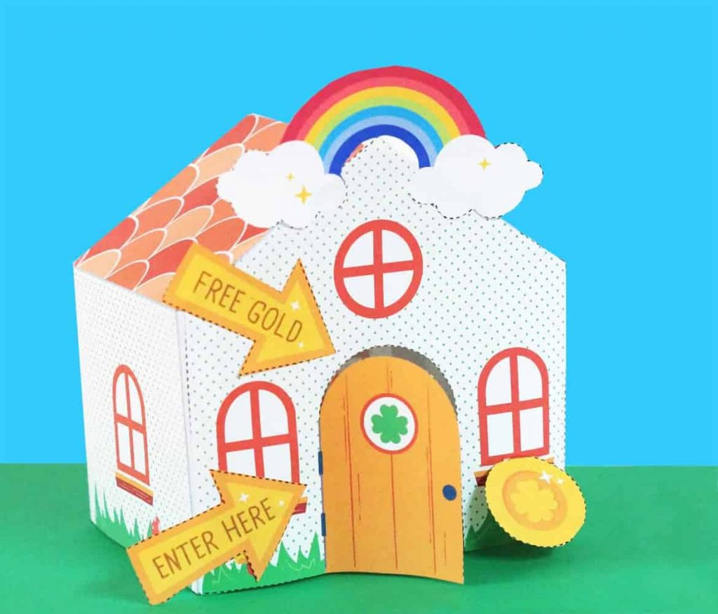 leprechaun trap with door and rainbow on a house