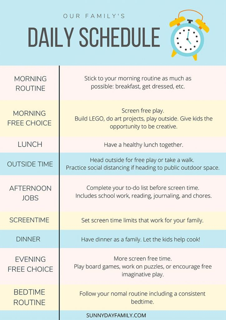 printable schedule of a homeschooling routine