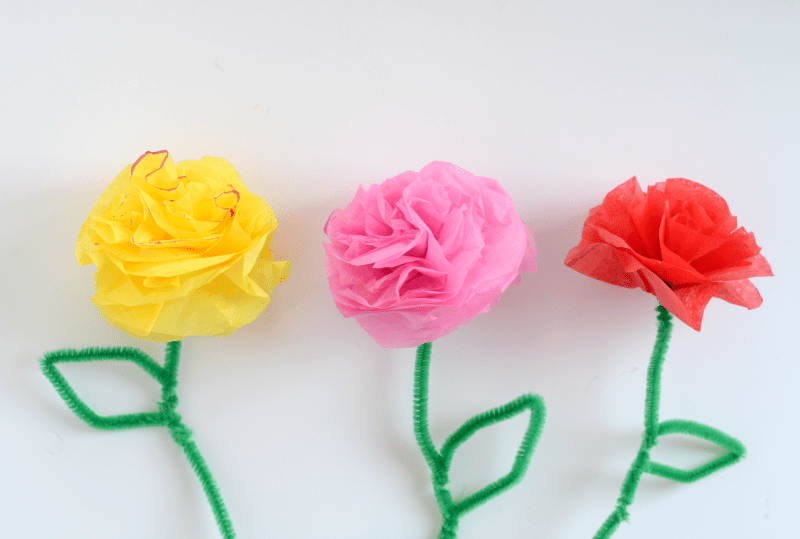 3 yellow, pink and orange DIY Tissue Paper Flowers