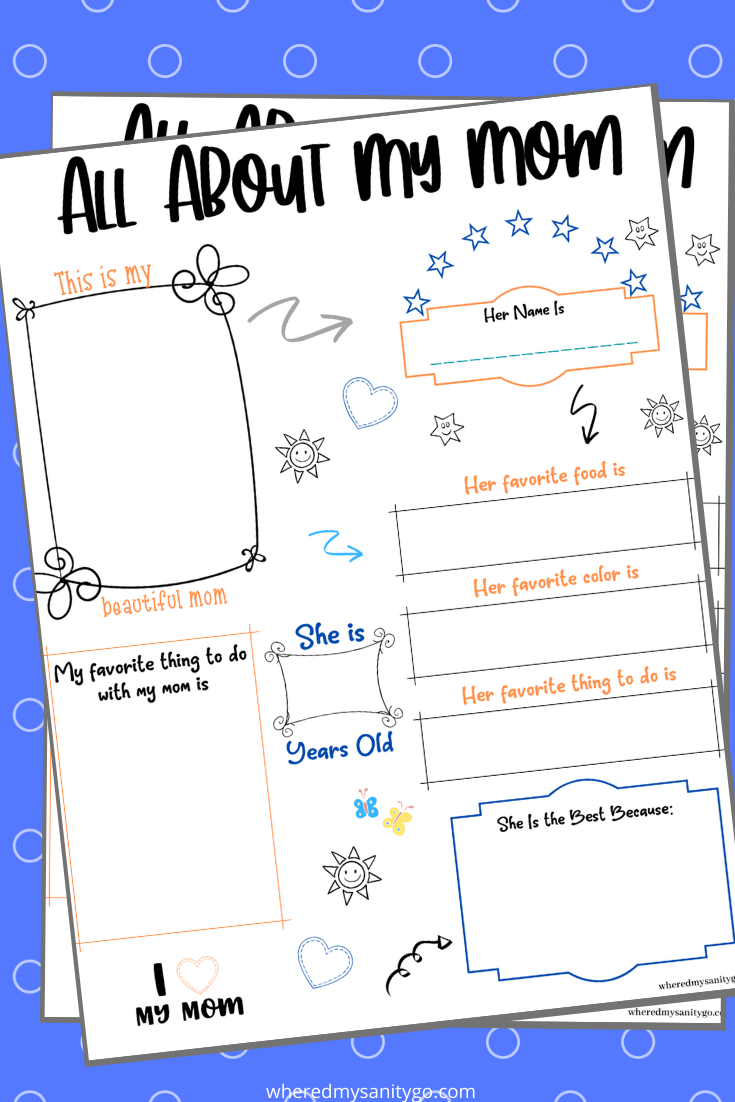 All About My Mom Free Printable Mother's Day Page