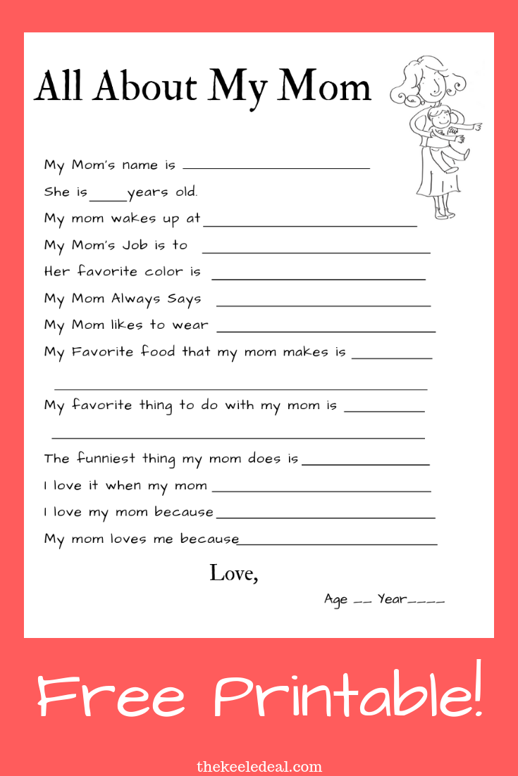 This is a photo of Free Printable Mother's Day Questionnaire with regard to quote