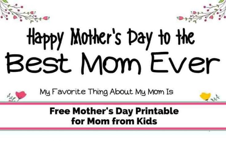 Free Mother's Day Printable for Mom from Kid