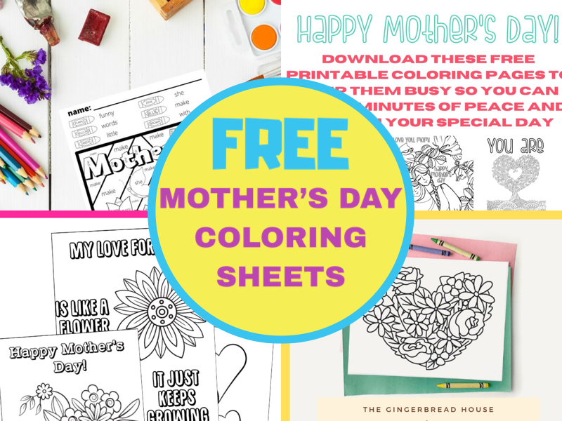 Free coloring sheets for kids collage