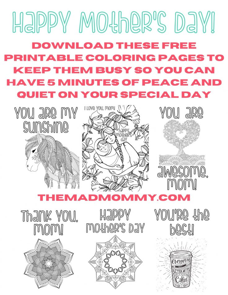 Mother's Day Coloring Pages (Free Instant Download)