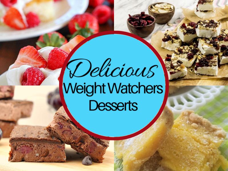 collage of weight watchers desserts