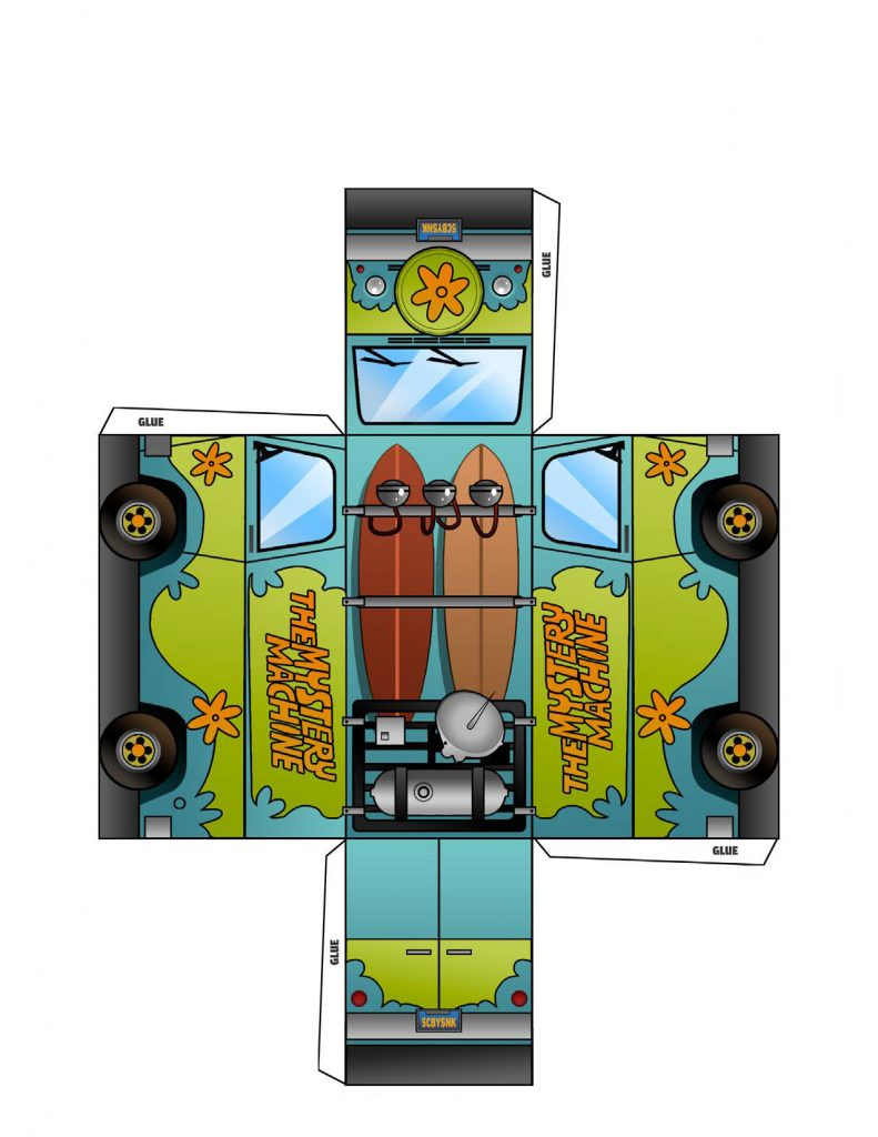 Mystery Machine cut out printable