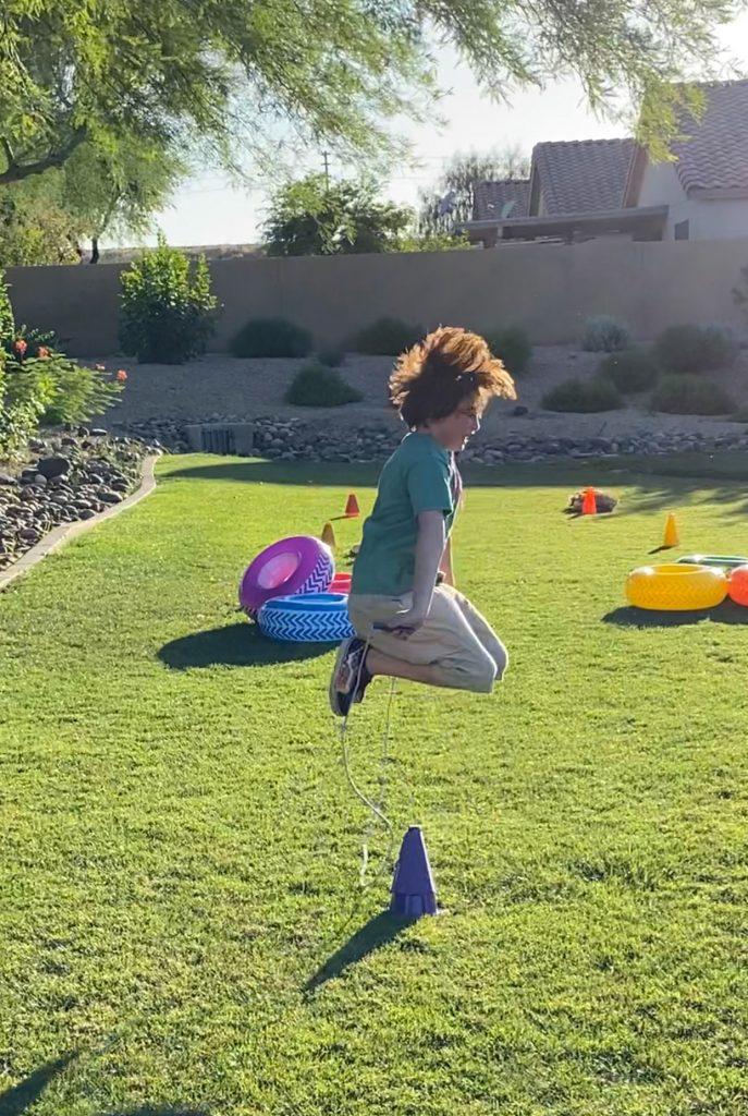 Boy jump roping
