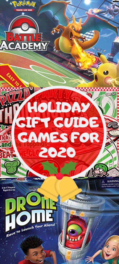 Gift Guide Games For 2020 like Battle Academy by Pokemon and Drone Home.