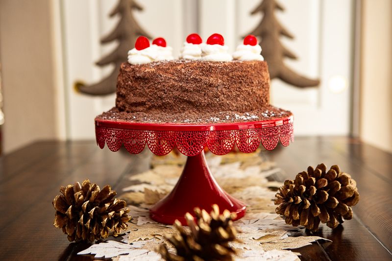 Black Forest Cake on cake stand