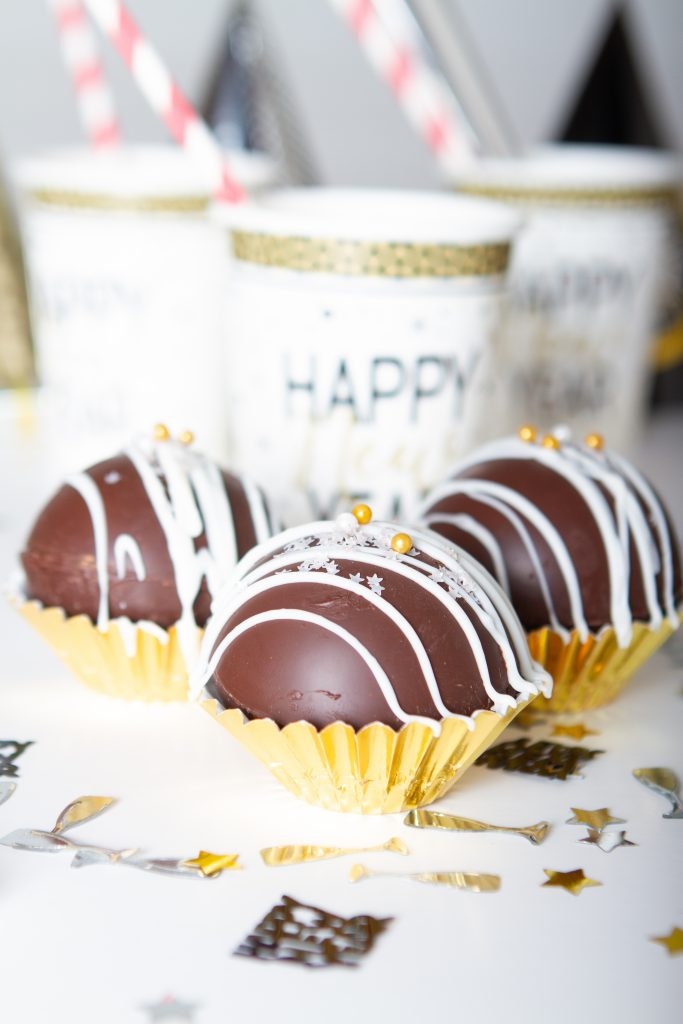 New Year's Eve Cocoa Bombs