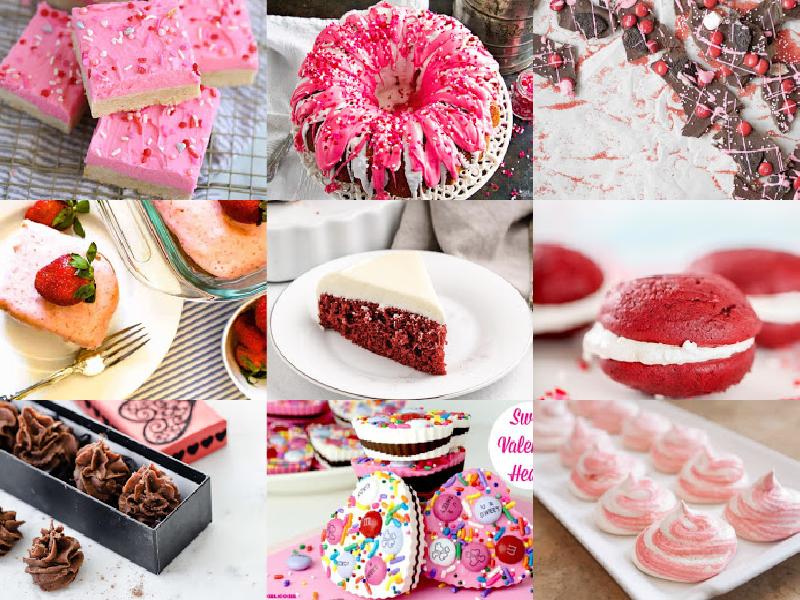 collage of valentine's desserts
