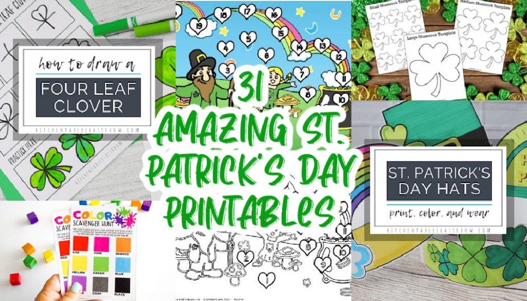 collage of St. Patrick Day's Printables