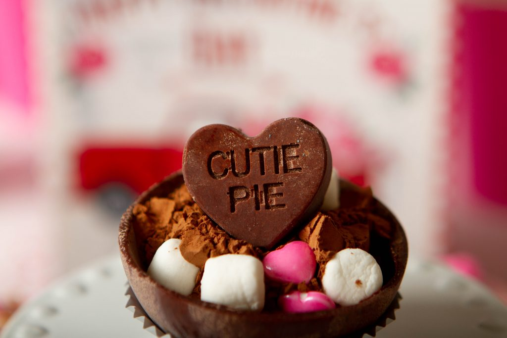 chocolate cutie pie conversation starter inside a cocoa bomb