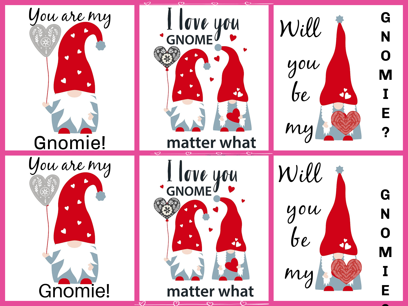 Fun Gnome Valentines Printables for the Kids