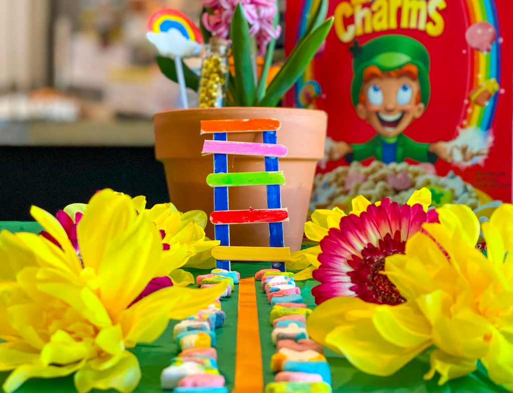 diy Leprechaun Trap with lucky charms pathway