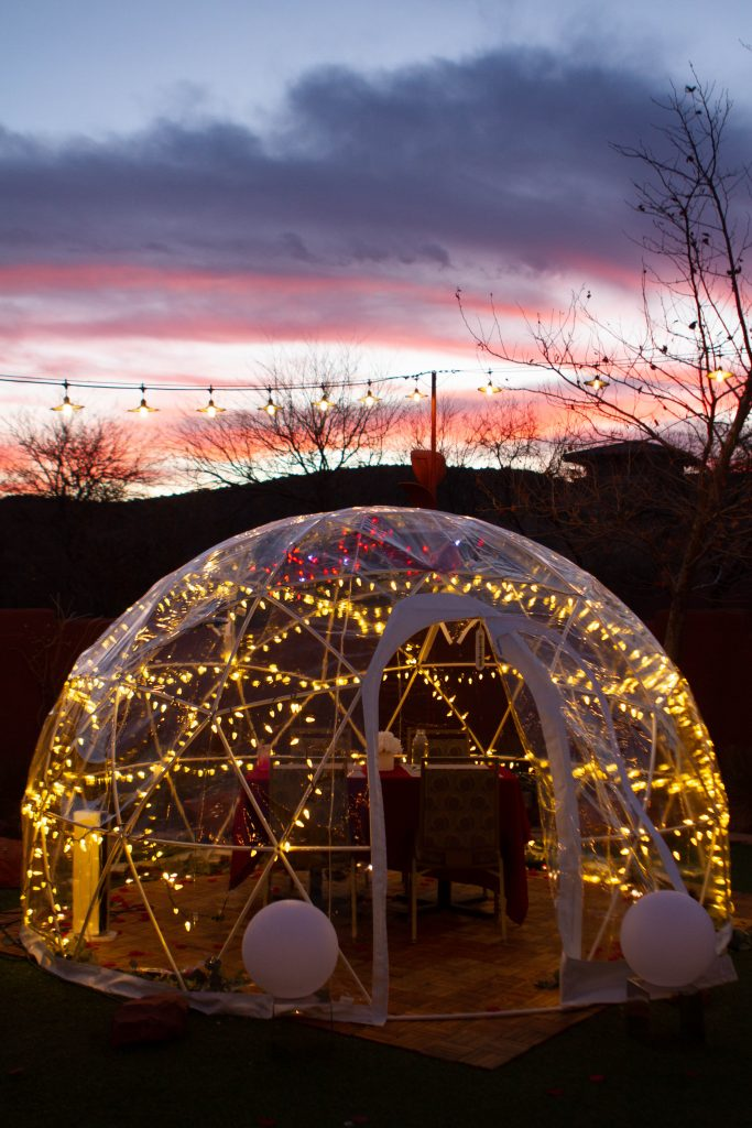 igloo with lights at Hilton Sedona