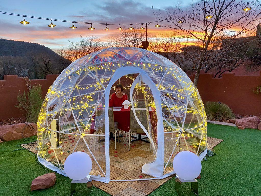 girl inside an igloo outside at Hildon Sedona