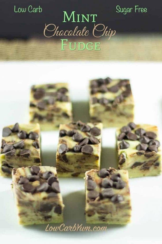 Low Carb Mint Chocolate Chip Fudge