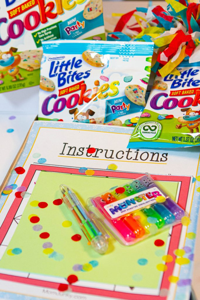 kids party activity box with Entenmann's Little Bites® Soft Baked Cookies