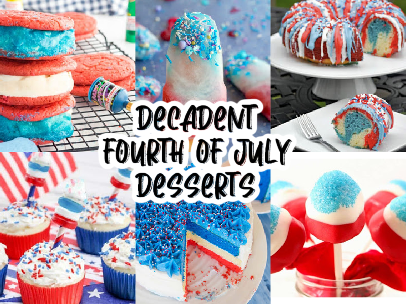 collage of red, white and blue desserts