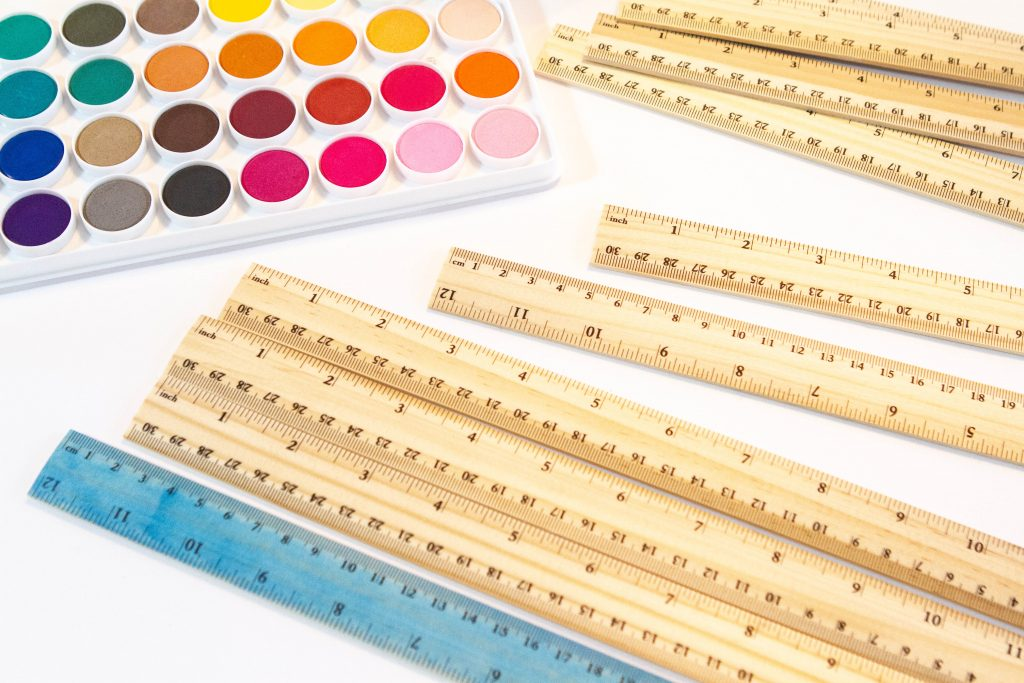 watercolor palatte with rulers
