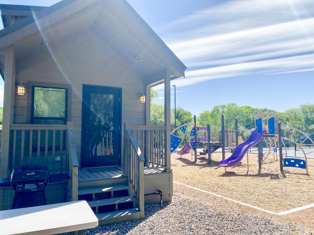cabin next to playground