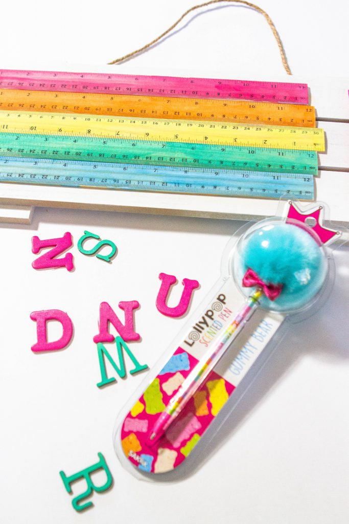 painted rulers and lollypop pen with painted letters