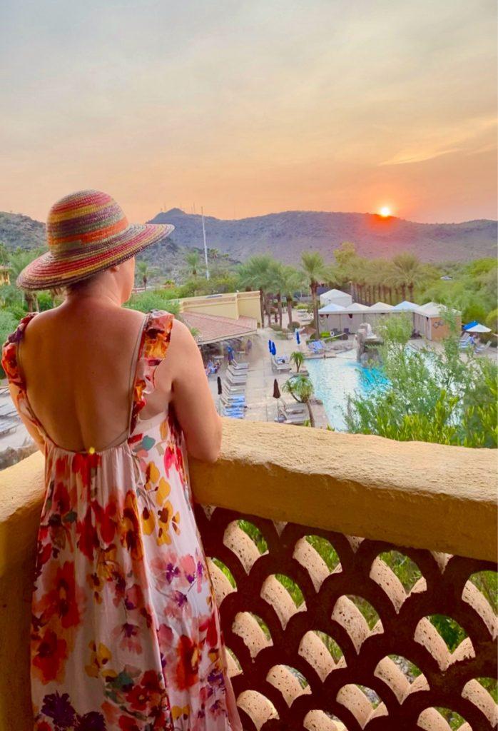 woman looking at pool