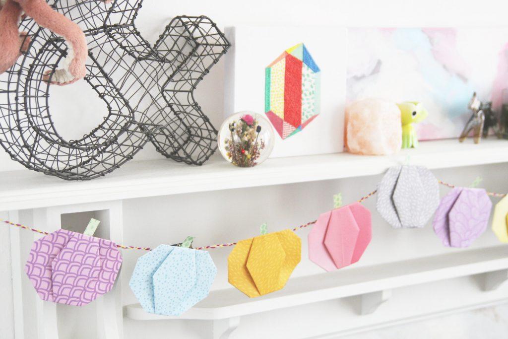 origami pumpkins garland