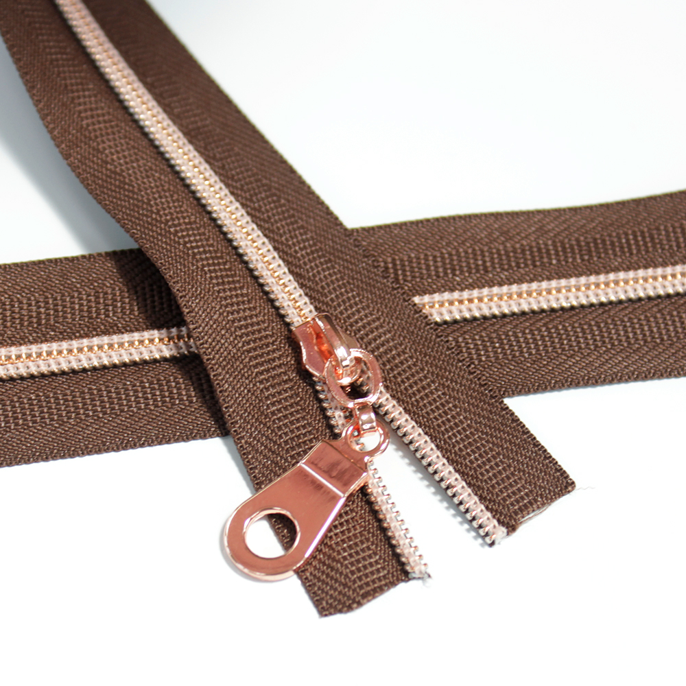 3-Nylon-Coil-Zipper-chocolate-brown-with-rose-gold-teeth