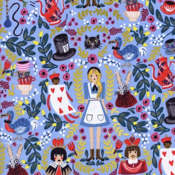 Wonderland Periwinkle Metallic Fabric
