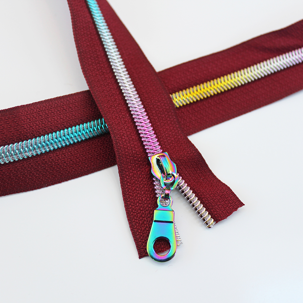 #5 Wine Zipper with Rainbow Coil