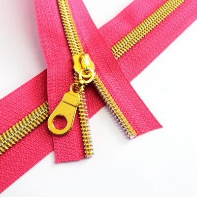 Fuchsia Zipper With Gold Coil