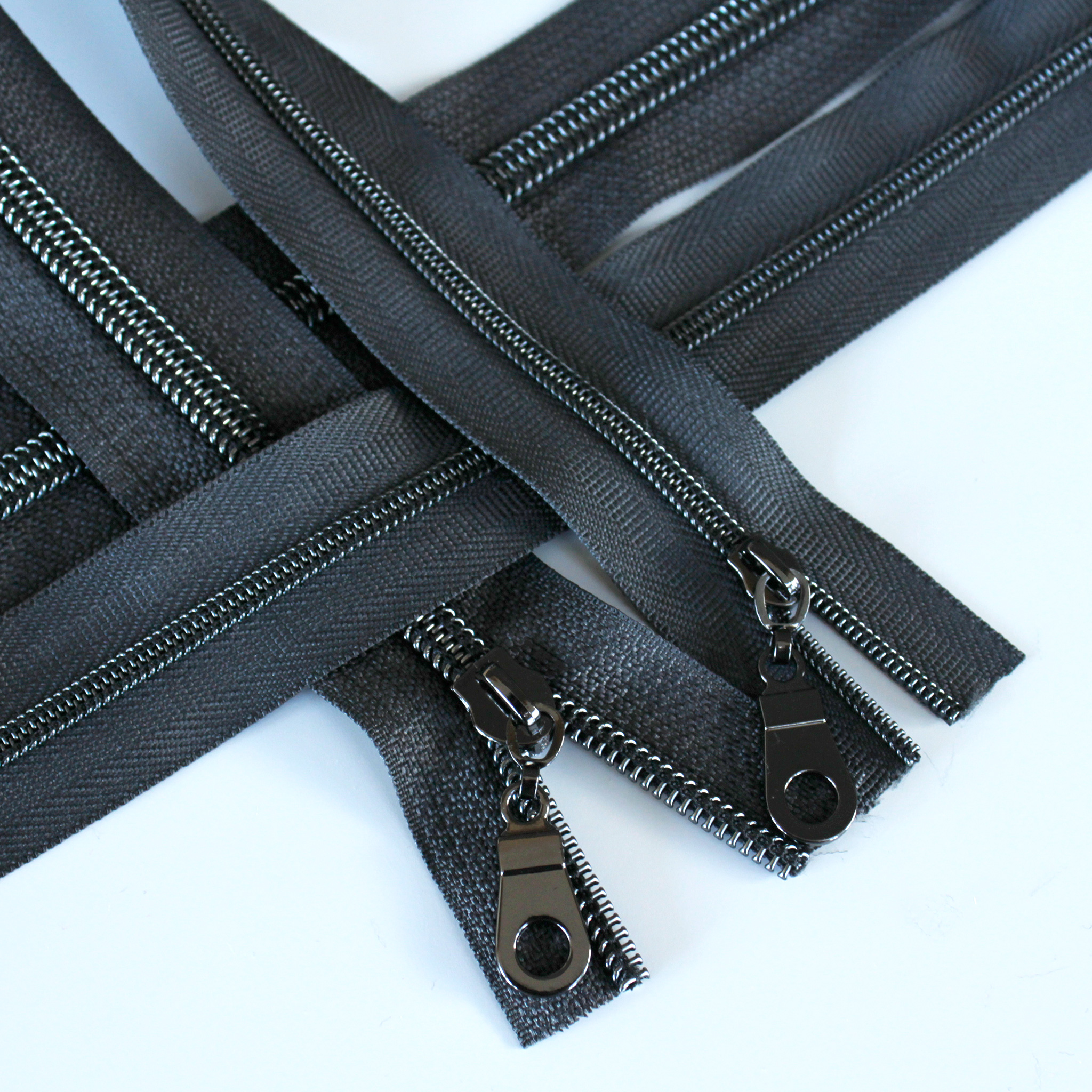 Charcoal Zipper With Gunmetal Coil