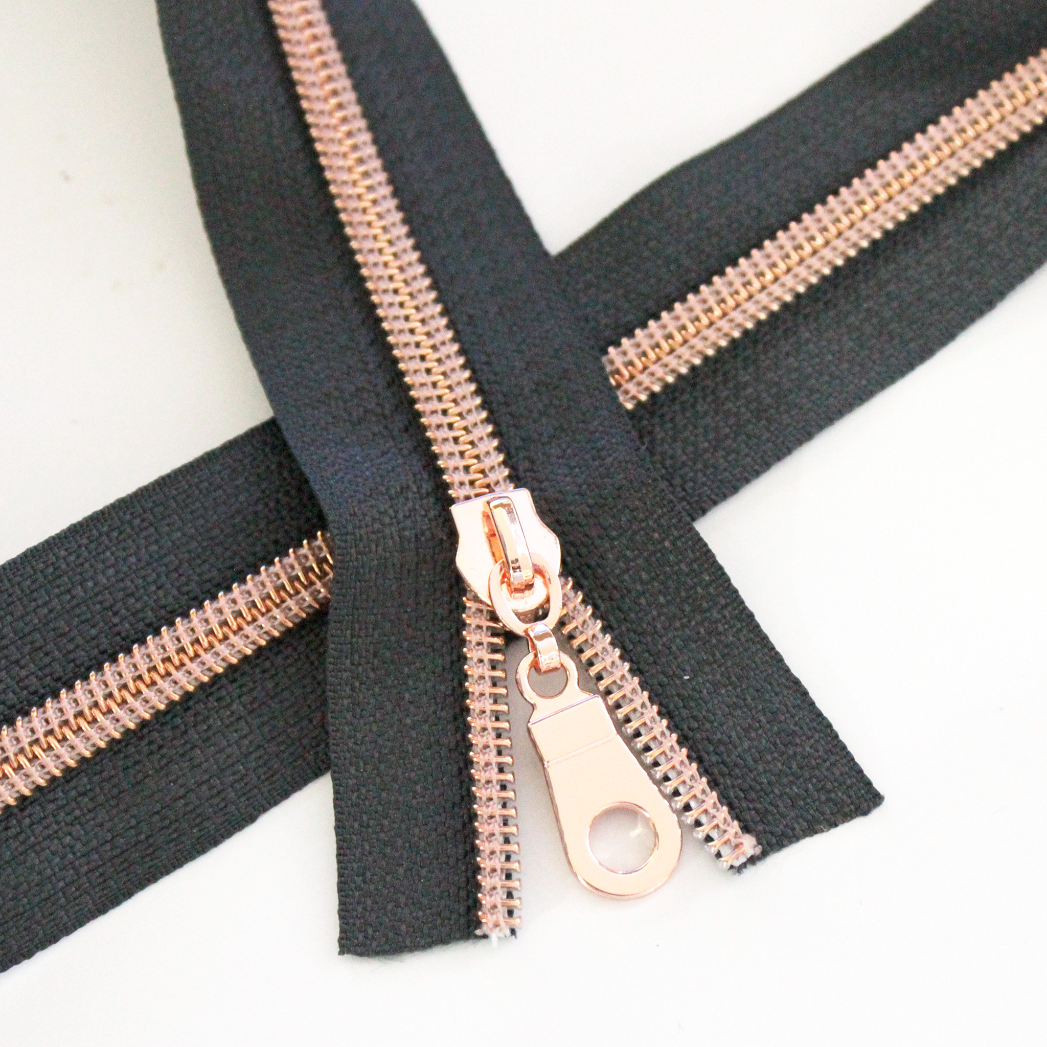 Charcoal Zipper with Rose Gold Coil