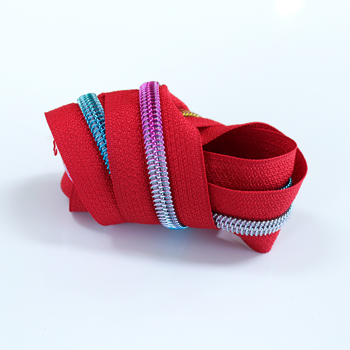 red zipper tape with rainbow coil