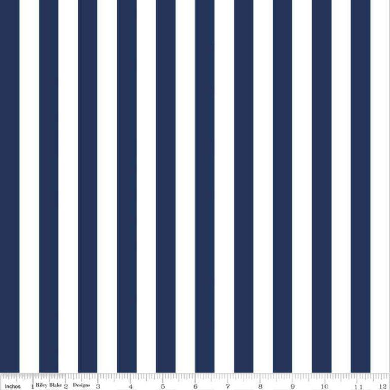 1-2 stripe navy fabric