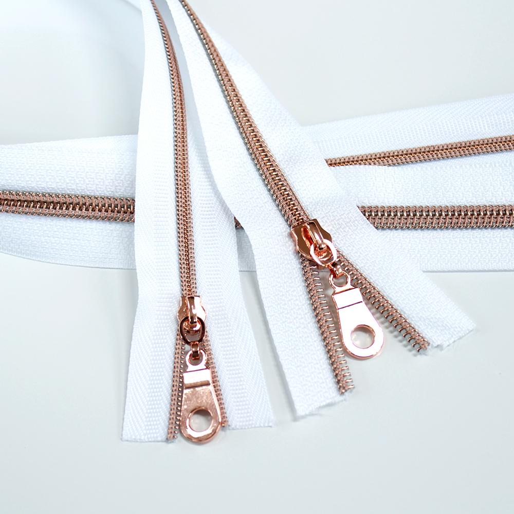 #3_#5_Nylon_Coil_Zipper_White_Rose_Gold_Coil