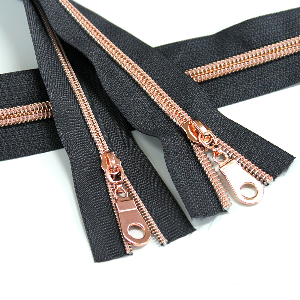 Nylon-Coil-Zipper-Charcoal-with-rose-gold-teeth