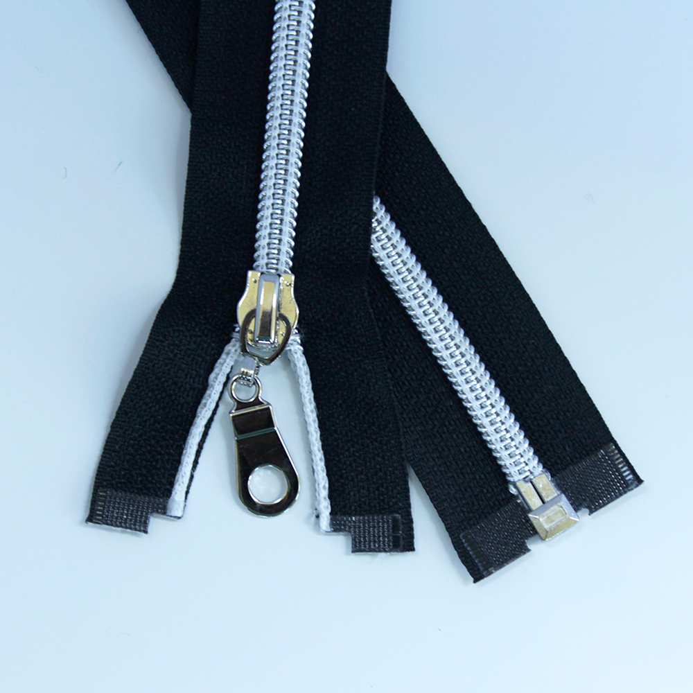 #5-separating zipper-black-with-silver-coil