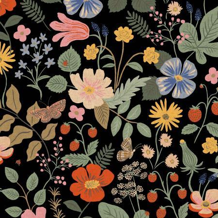 Strawberry Fields - Black Canvas Pigment Fabric