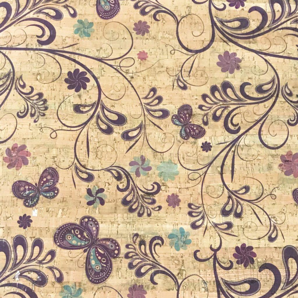 Cork Fabric – Butterfly Garden